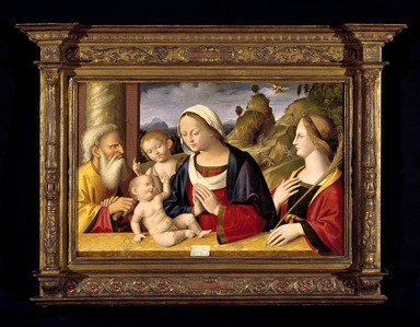 Marco Palmezzano (Italian, School of Romagnola, ca. 1459/63-1539). <em>Holy Family with Saints John the Baptist and Catherine of Alexandria</em>, 1521. Tempera and oil on poplar panel, 23 3/4 x 36 1/4 in. (60.3 x 92.1 cm). Brooklyn Museum, Gift of the executors of the Estate of Colonel Michael Friedsam, 34.499 (Photo: Brooklyn Museum, 34.499_SL3.jpg)