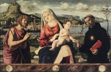 Andrea Busati (Italian, (Venetian School), active 1503-1528). <em>Madonna and Child with Saints John the Baptist and Nicholas of Tolentino</em>, early 1500s. Tempera and oil on poplar panel, 28 3/8 x 43 3/4 in.  (72.1 x 111.1 cm). Brooklyn Museum, Gift of the executors of the Estate of Colonel Michael Friedsam, 34.501 (Photo: Brooklyn Museum, 34.501.jpg)