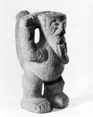 <em>Warrior Figure</em>, 1000-1550. Volcanic stone, 5 5/16 x 3 1/2 x 4 in. (13.5 x 8.9 x 10.2 cm). Brooklyn Museum, Alfred W. Jenkins Fund, 34.5043. Creative Commons-BY (Photo: Brooklyn Museum, 34.5043_bw.jpg)