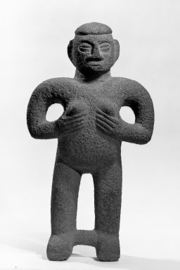 <em>Figure of Woman</em>, 1000-1500. Volcanic stone, 26 x 14 3/4 x 6 1/2 in. (66 x 37.5 x 16.5 cm). Brooklyn Museum, Alfred W. Jenkins Fund, 34.5070. Creative Commons-BY (Photo: Brooklyn Museum, 34.5070_view2_acetate_bw.jpg)
