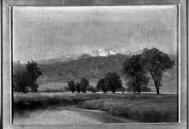 Attributed to John Frederick Kensett (American, 1816-1872). <em>Western Landscape</em>. Oil on canvas, 9 11/16 x 13 11/16 in. (24.6 x 34.7 cm). Brooklyn Museum, Gift of Mrs. Walter de Forest Johnson, 34.515 (Photo: Brooklyn Museum, 34.515_acetate_bw.jpg)