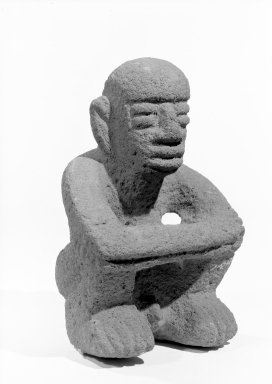 <em>Seated Male Figure</em>, 1000-1550. Volcanic stone, 6 3/4 x 4 3/4 x 4 in. (17.1 x 12.1 x 10.2 cm). Brooklyn Museum, Alfred W. Jenkins Fund, 34.5178. Creative Commons-BY (Photo: Brooklyn Museum, 34.5178_acetate_bw.jpg)
