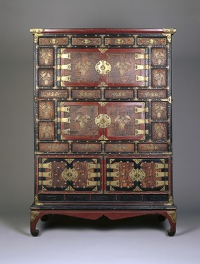 <em>Mandarin Duck Cabinet</em>, early 20th century. Lacquer on wood, zelkova burl panels, brass fittings, 63 1/8 x 44 3/4 x 22 1/4 in. (160.3 x 113.7 x 56.5 cm). Brooklyn Museum, George C. Brackett Fund, 34.530. Creative Commons-BY (Photo: Brooklyn Museum, 34.530_color_corrected_SL1.jpg)