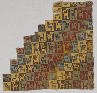 Wari. <em>Mantle, Fragment  or Carrying Cloth, Fragment</em>, 600-1000 C.E. Cotton, camelid fiber, 11 7/16 x 11 13/16 in. (29 x 30 cm). Brooklyn Museum, George C. Brackett Fund, 34.553. Creative Commons-BY (Photo: Brooklyn Museum, 34.553_PS9.jpg)