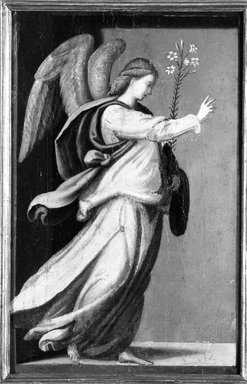 Style of Mariotto Albertinelli (Italian, Florentine, 1474-1515). <em>Angel Annunciate; Virgin Annunciate</em>, 16th century. Tempera on panels, Each: 11 1/2 x 7 1/2 in. (29.2 x 19.1 cm). Brooklyn Museum, Gift of Mary Babbott Ladd and Frank L. Babbott, Jr. in memory of their father Frank L. Babbott, 34.5592 (Photo: Brooklyn Museum, 34.5592_detail1_acetate_bw.jpg)