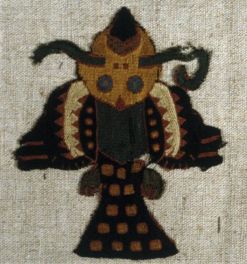 Paracas Necropolis. <em>Textile Fragment Mounted on Modern Fabric</em>, 0-100 C.E. Camelid fiber, 3 3/4 × 4 1/2 in. (9.5 × 11.4 cm). Brooklyn Museum, George C. Brackett Fund, 34.560.1. Creative Commons-BY (Photo: Brooklyn Museum, 34.560.1_SL1.jpg)