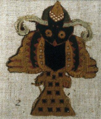 Paracas Necropolis. <em>Textile fragment or Mantle, Field, fragment, mounted on modern fabric</em>, 200-600 C.E. Camelid fiber, 3 3/4 × 4 3/4 in. (9.5 × 12.1 cm). Brooklyn Museum, George C. Brackett Fund, 34.560.2. Creative Commons-BY (Photo: Brooklyn Museum, 34.560.2_SL1.jpg)