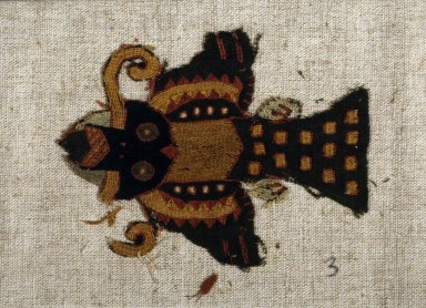 Paracas Necropolis. <em>Textile Fragment Mounted on Modern Fabric, undetermined, or Mantle, Field, Fragment, Mounted on Modern Fabric</em>, 200-600 C.E. Camelid fiber, 3 3/4 × 4 3/4 in. (9.5 × 12.1 cm). Brooklyn Museum, George C. Brackett Fund, 34.560.3. Creative Commons-BY (Photo: Brooklyn Museum, 34.560.3_SL1.jpg)