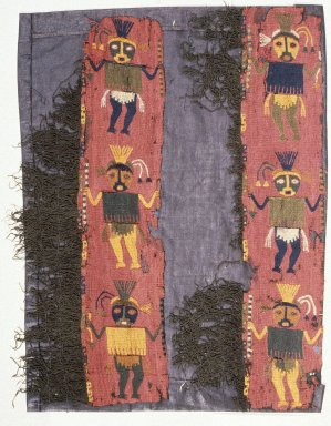 Paracas Necropolis. <em>2 Textile Fragments, undetermined, Border</em>, 200-600 C.E. Camelid fiber, a, including fringe: 12 3/16 x 4 3/4 in. (31 x 12.1 cm). Brooklyn Museum, George C. Brackett Fund, 34.561a-b. Creative Commons-BY (Photo: Brooklyn Museum, 34.561a-b_SL1.jpg)