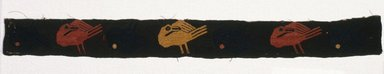 Paracas. <em>Textile Fragment, unascertainable, Border or Poncho, Border, Fragment</em>, 0-100 C.E. Cotton, camelid fiber, 15 3/4 x 1 9/16 in. (40 x 4 cm). Brooklyn Museum, George C. Brackett Fund, 34.562.1. Creative Commons-BY (Photo: Brooklyn Museum, 34.562.1_SL1.jpg)