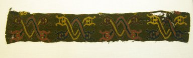 Paracas. <em>Poncho, Neck Opening Decoration, Fragment or Textile Fragment, undetermined, Border</em>, 0-200 C.E. Camelid fiber, 14 9/16 x 2 3/8 in. (37 x 6 cm). Brooklyn Museum, George C. Brackett Fund, 34.562.2. Creative Commons-BY (Photo: Brooklyn Museum, 34.562.2_front_PS5.jpg)