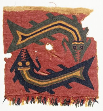 Proto-Nazca (curvilinear). <em>Textile Fragment, undetermined</em>, 200-600 C.E. Cotton, camelid fiber, 6 1/8 x 6 5/16 in. (15.5 x 16 cm). Brooklyn Museum, George C. Brackett Fund, 34.563.3. Creative Commons-BY (Photo: Brooklyn Museum, 34.563.3_SL1.jpg)