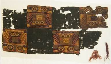 Paracas Necropolis. <em>Textile Fragment, unascertainable, or Mantle, Field, Fragment</em>, 200-600 C.E. Camelid fiber, 9 1/16 x 18 7/8in. (23 x 48cm). Brooklyn Museum, George C. Brackett Fund, 34.564. Creative Commons-BY (Photo: Brooklyn Museum, 34.564_front_PS5.jpg)