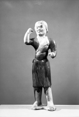 <em>Tomb Figure of a Groom</em>, 618-906. Earthenware, 17 in. (43.2 cm). Brooklyn Museum, Brooklyn Museum Collection, 34.5695. Creative Commons-BY (Photo: Brooklyn Museum, 34.5695_acetate_bw.jpg)