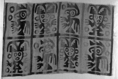 Chimú. <em>Textile Fragment, undetermined</em>, 1000-1532 C.E. Cotton, (20.5 x 47.0 cm). Brooklyn Museum, George C. Brackett Fund, 34.570. Creative Commons-BY (Photo: Brooklyn Museum, 34.570_glass_bw.jpg)