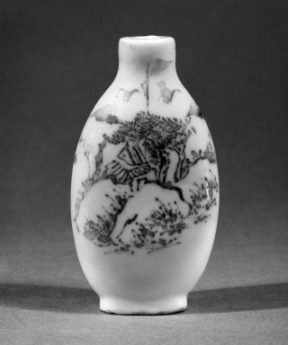 <em>Snuff Bottle</em>, 19th century. White glazed porcelain, 3 1/8 x 1 7/8 in. (8 x 4.7 cm). Brooklyn Museum, Brooklyn Museum Collection, 34.5714. Creative Commons-BY (Photo: Brooklyn Museum, 34.5714_bw.jpg)