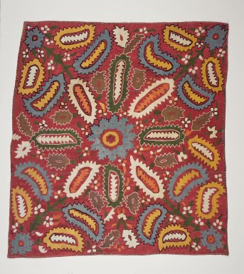 <em>Embroidered Square Cover</em>, 20th century. Pink plain cloth weave silk, 37 1/2 x 35 1/2 in. (95.3 x 90.1 cm). Brooklyn Museum, Brooklyn Museum Collection, 34.5763. Creative Commons-BY (Photo: Brooklyn Museum, 34.5763.jpg)