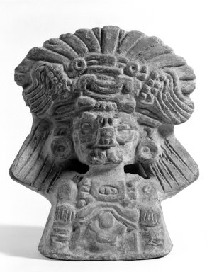 Zapotec. <em>Funerary Urn</em>. Pottery, 11 13/16 x 8 11/16 in. (30 x 22 cm). Brooklyn Museum, Brooklyn Museum Collection, 34.585. Creative Commons-BY (Photo: Brooklyn Museum, 34.585_bw.jpg)