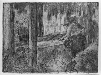 Edgar Degas (French, 1834-1917). <em>The Laundresses (The Ironing) (Les Blanchisseuses [Le Repassage])</em>, 1879-1880. Etching and aquatint on Arches laid paper, Image: 4 11/16 x 6 3/8 in. (11.9 x 16.2 cm). Brooklyn Museum, Gift of the Estate of Margaret M. Cullen, 34.5860 (Photo: Brooklyn Museum, 34.5860_bw.jpg)