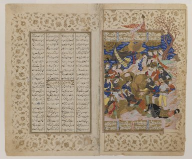<em>Sikandar Attends the Dying Dara, Folio from a Manuscript of the Khamsa of Nizami</em>, 17th century. Ink, opaque watercolor, and gold on paper, 9 13/16 x 5 7/8 in. (25 x 15 cm). Brooklyn Museum, Bequest of Frank L. Babbott, 34.5996 (Photo: Brooklyn Museum, 34.5996_IMLS_PS3.jpg)