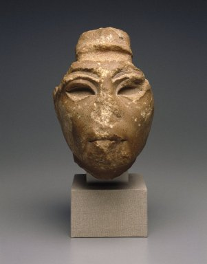 <em>Head from a Composite Statue</em>, ca. 1352-1336 B.C.E. Yellow quartzite, pigment, 7 1/16 x 5 11/16 in. (18 x 14.5 cm). Brooklyn Museum, Gift of the Egypt Exploration Society, 34.6042. Creative Commons-BY (Photo: Brooklyn Museum, 34.6042_front_SL1.jpg)