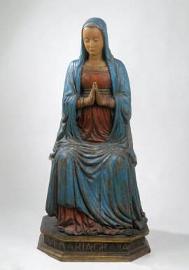 Attributed to Domenico di Paris, also called Domenico del Cavallo (Italian, Paduan, active ca. 1443–1501). <em>Madonna</em>. Wood Brooklyn Museum, Gift of Mary Babbott Ladd and Frank L. Babbott, Jr. in memory of their father Frank L. Babbott, 34.6062. Creative Commons-BY (Photo: Brooklyn Museum, 34.6062_PS2.jpg)