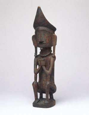 <em>Ancestor Figure (Adu Bihara)</em>, early 20th century. Wood, pigment, 8 7/8 x 2 3/8 x 2 1/4 in. (22.5 x 6 x 5.7 cm). Brooklyn Museum, George C. Brackett Fund, 34.6075. Creative Commons-BY (Photo: Brooklyn Museum, 34.6075_SL1.jpg)
