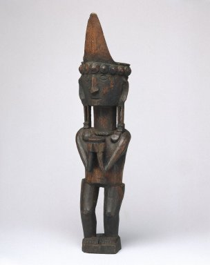 <em>Ancestor Figure (Adu Bihara)</em>, early 20th century. Wood, pigment, 10 1/8 x 2 3/8 x 2 1/2 in. (25.7 x 6 x 6.4 cm). Brooklyn Museum, George C. Brackett Fund, 34.6076. Creative Commons-BY (Photo: Brooklyn Museum, 34.6076_SL1.jpg)