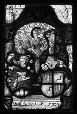 <em>Untitled Panel from the Babbott Stained Glass Window</em>. Stained glass, 13 1/4 x 9 in. (33.7 x 22.9 cm). Brooklyn Museum, Gift of Mary Babbott Ladd, Lydia Babbott Stokes, Helen Babbott MacDonald, and Dr. Frank L. Babbott, Jr. in memory of their father, Frank L. Babbott, 34.6090.10. Creative Commons-BY (Photo: Brooklyn Museum, 34.6090.10_bw.jpg)