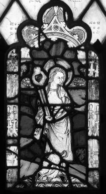 <em>Untitled Panel from the Babbott Stained Glass Window</em>. Stained glass, 23 x 12 in. (58.4 x 30.5 cm). Brooklyn Museum, Gift of Mary Babbott Ladd, Lydia Babbott Stokes, Helen Babbott MacDonald, and Dr. Frank L. Babbott, Jr. in memory of their father, Frank L. Babbott, 34.6090.12. Creative Commons-BY (Photo: Brooklyn Museum, 34.6090.12_bw.jpg)