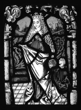<em>Female Saint</em>, 19th century. Stained glass, 12 3/4 x 9 3/4 in. (32.4 x 24.8 cm). Brooklyn Museum, Gift of Mary Babbott Ladd, Lydia Babbott Stokes, Helen Babbott MacDonald, and Dr. Frank L. Babbott, Jr. in memory of their father, Frank L. Babbott, 34.6090.16. Creative Commons-BY (Photo: Brooklyn Museum, 34.6090.16_bw.jpg)