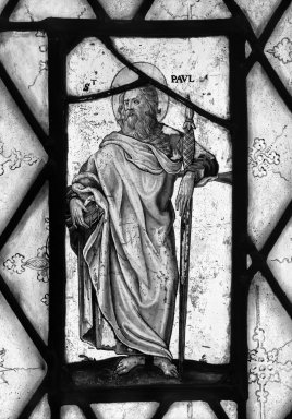<em>Saint Paul</em>. Stained glass, 13 1/4 x 7 in. (33.7 x 17.8 cm). Brooklyn Museum, Gift of Mary Babbott Ladd, Lydia Babbott Stokes, Helen Babbott MacDonald, and Dr. Frank L. Babbott, Jr. in memory of their father, Frank L. Babbott, 34.6090.1. Creative Commons-BY (Photo: Brooklyn Museum, 34.6090.1_bw.jpg)