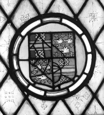 <em>Arms</em>. Stained glass, 12 1/4 x 12 3/8 in. (31.1 x 31.4 cm). Brooklyn Museum, Gift of Mary Babbott Ladd, Lydia Babbott Stokes, Helen Babbott MacDonald, and Dr. Frank L. Babbott, Jr. in memory of their father, Frank L. Babbott, 34.6090.3. Creative Commons-BY (Photo: Brooklyn Museum, 34.6090.3_bw.jpg)