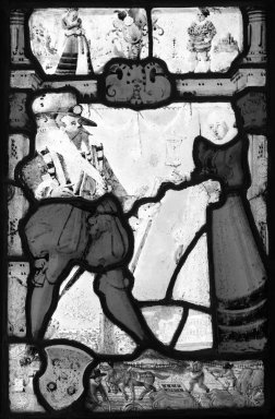 <em>Man and Woman with Covered Chalice</em>. Stained glass, 13 3/4 x 9 1/2 in. (34.9 x 24.1 cm). Brooklyn Museum, Gift of Mary Babbott Ladd, Lydia Babbott Stokes, Helen Babbott MacDonald, and Dr. Frank L. Babbott, Jr. in memory of their father, Frank L. Babbott, 34.6090.8. Creative Commons-BY (Photo: Brooklyn Museum, 34.6090.8_bw.jpg)