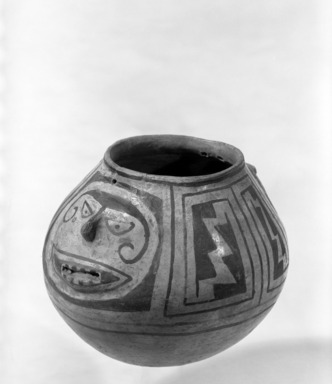 Pueblo (unidentified). <em>Bowl</em>. Pottery, lead ore, galena, 5 1/2 x 6 1/2 in.  (14.0 x 16.5 cm). Brooklyn Museum, Brooklyn Museum Collection, 34.621. Creative Commons-BY (Photo: Brooklyn Museum, 34.621_view1_bw.jpg)