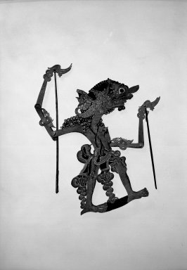 <em>Shadow Play Figures</em>. Leather, pigment, wood, fiber, 14 9/16 × 15 3/4 in. (37 × 40 cm). Brooklyn Museum, Brooklyn Museum Collection, 34.68. Creative Commons-BY (Photo: Brooklyn Museum, 34.68_acetate_bw.jpg)