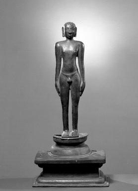 <em>Male Figure</em>. Brass, 23 5/8 x 11 1/16 in. (60 x 28.1 cm). Brooklyn Museum, Brooklyn Museum Collection, 34.736. Creative Commons-BY (Photo: Brooklyn Museum, 34.736_acetate_bw.jpg)