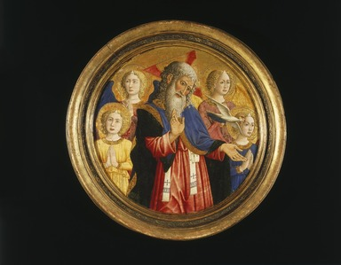 Giovanni Francesco da Rimini (Italian, ca. 1420-1470). <em>God the Father with Four Angels and the Dove of the Holy Spirit</em>, ca. 1460. Tempera and gold on panel, 18 1/4 in. (46.4 cm). Brooklyn Museum, Gift of Mary Babbott Ladd, Lydia Babbott Stokes, and Frank L. Babbott, Jr. in memory of their father Frank L. Babbott, 34.835 (Photo: Brooklyn Museum, 34.835_SL1.jpg)