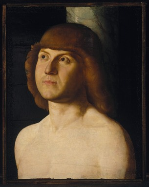 Follower of Antonello da Messina (Venetian School) (Italian, Sicilian, late 15th century). <em>Saint Sebastian</em>, late 15th century. Oil on panel, 12 1/2 x 9 5/8 in. (31.8 x 24.4 cm). Brooklyn Museum, Gift of Mary Babbott Ladd, Lydia Babbott Stokes, and Frank L. Babbott, Jr. in memory of their father Frank L. Babbott, 34.836 (Photo: Brooklyn Museum, 34.836_SL1.jpg)