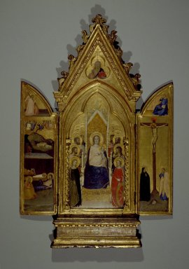 Maso di Banco (Italian, Florentine School, 1341-1346). <em>Triptych: Madonna with Saints and Christ Blessing (Center); The Nativity and the Annunciate Angel (Left Wing); Crucifixion and the Virgin Annunciate (Right Wing)</em>, ca. 1336. Tempera and tooled gold on poplar panel in original engaged frame, Center panel: 30 1/8 x 11 3/4 in. (76.5 x 29.8 cm). Brooklyn Museum, Gift of Mary Babbott Ladd, Lydia Babbott Stokes, and Frank L. Babbott, Jr. in memory of their father Frank L. Babbott, 34.838 (Photo: Brooklyn Museum, 34.838_SL3.jpg)