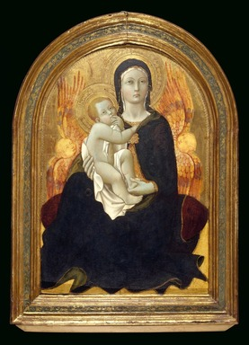 Sano di Pietro (Italian, Sienese, 1405-1481). <em>Madonna of Humility</em>, early 1440s. Tempera and tooled gold and silver on panel with engaged frame, 20 7/8 x 14 1/4 in. (53 x 36.2 cm). Brooklyn Museum, Gift of Mary Babbott Ladd, Lydia Babbott Stokes, and Frank L. Babbott, Jr. in memory of their father Frank L. Babbott, 34.840 (Photo: Brooklyn Museum, 34.840_SL3.jpg)
