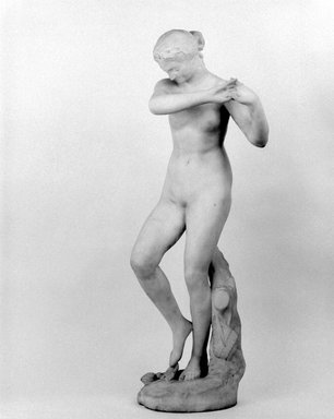Olin Levi Warner (American, 1844-1896). <em>Dancing Nymph</em>, 1881. Marble, 37 x 13 3/4 x 11 3/4 in. (94 x 34.9 x 29.8 cm). Brooklyn Museum, Gift of Mary Babbott Ladd,  Helen Babbott MacDonald, Lydia Babbott Stokes, and Frank L. Babbott, Jr. in memory of their father Frank L. Babbott, 34.852. Creative Commons-BY (Photo: Brooklyn Museum, 34.852_bw.jpg)