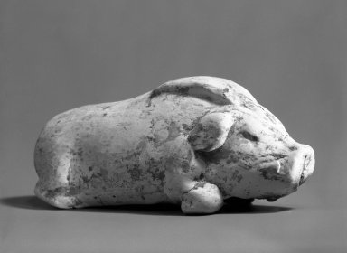 <em>Tomb Model of a Boar Crouching</em>, 618-906. Earthenware, 5 5/16 x 1 9/16 in. (13.5 x 4 cm). Brooklyn Museum, Brooklyn Museum Collection, 34.884. Creative Commons-BY (Photo: Brooklyn Museum, 34.884_bw.jpg)