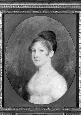 Attributed to Felix Sharples (American, 1789-1844). <em>Portrait of Marie King</em>, n.d. Pastel on tan paper, Sight (oval): 8 7/8 x 7 5/16 in. (22.5 x 18.6 cm). Brooklyn Museum, 34.999 (Photo: Brooklyn Museum, 34.999_framed_acetate_bw.jpg)