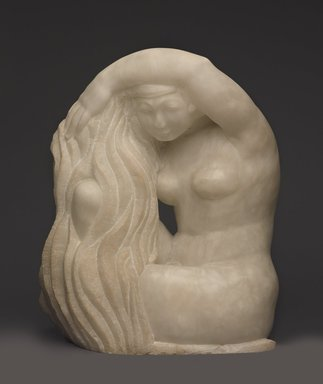 Robert Laurent (American, born France, 1890-1970). <em>The Bather</em>, ca. 1925. Alabaster, 26 3/4 × 22 1/16 × 13 9/16 in., 305 lb. (67.9 × 56 × 34.4 cm, 138.35kg). Brooklyn Museum, Carll H. de Silver Fund, 35.1009. © artist or artist's estate (Photo: Brooklyn Museum, 35.1009_front_PS9.jpg)
