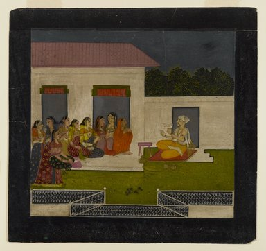 Indian. <em>Devotional Discourse</em>, 1750-1775. Opaque watercolor and gold on paper, sheet: 8 3/4 x 9 3/16 in.  (22.2 x 23.3 cm). Brooklyn Museum, Brooklyn Museum Collection, 35.1021 (Photo: Brooklyn Museum, 35.1021_IMLS_PS4.jpg)