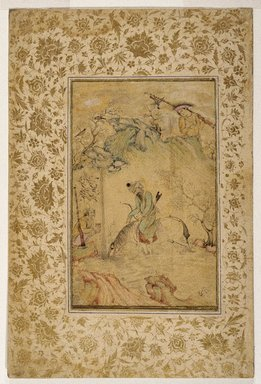 Riza `Abbasi (Persian, active 1585-1635). <em>Hunters at a Stream</em>, ca. 1625. Ink, opaque watercolor and gold on polished rag paper, 13 3/8 x 8 7/8 in. (33.9 x 22.5 cm). Brooklyn Museum, Frank L. Babbott Fund, 35.1027 (Photo: Brooklyn Museum, 35.1027_IMLS_SL2.jpg)