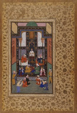 <em>Sa'di's Visit to an Indian Temple, folio from a manuscript of the Bustan by Sa'di</em>, late 16th century. Ink, colors, and gold on paper, image: 9 x 5 1/8 in. (22.9 x 13 cm). Brooklyn Museum, Frank L. Babbott Fund, 35.1028 (Photo: Brooklyn Museum, 35.1028_cropped_IMLS_SL2.jpg)