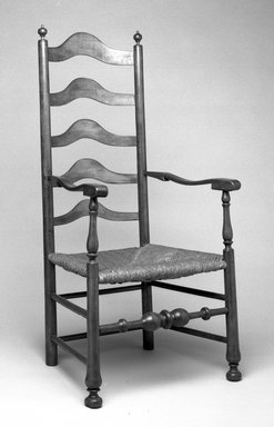 <em>Chair</em>, ca. 1720. Maple, pine, ash, rush, arm chair: 51 3/16 x 22 13/16 in. (130 x 58 cm). Brooklyn Museum, Museum Purchase Fund, 35.1039.1. Creative Commons-BY (Photo: Brooklyn Museum, 35.1039.1_bw.jpg)