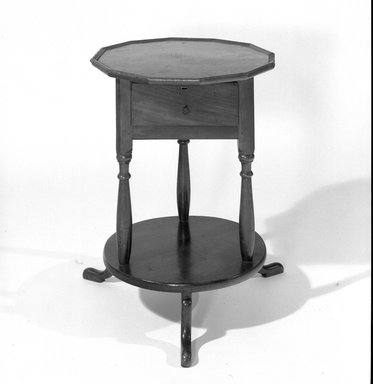 American. <em>Bedside Table</em>, ca. 1750. Wood, 27 15/16 x 19 1/8 in. (71 x 48.5 cm). Brooklyn Museum, Museum Purchase Fund, 35.1042. Creative Commons-BY (Photo: Brooklyn Museum, 35.1042_acetate_bw.jpg)